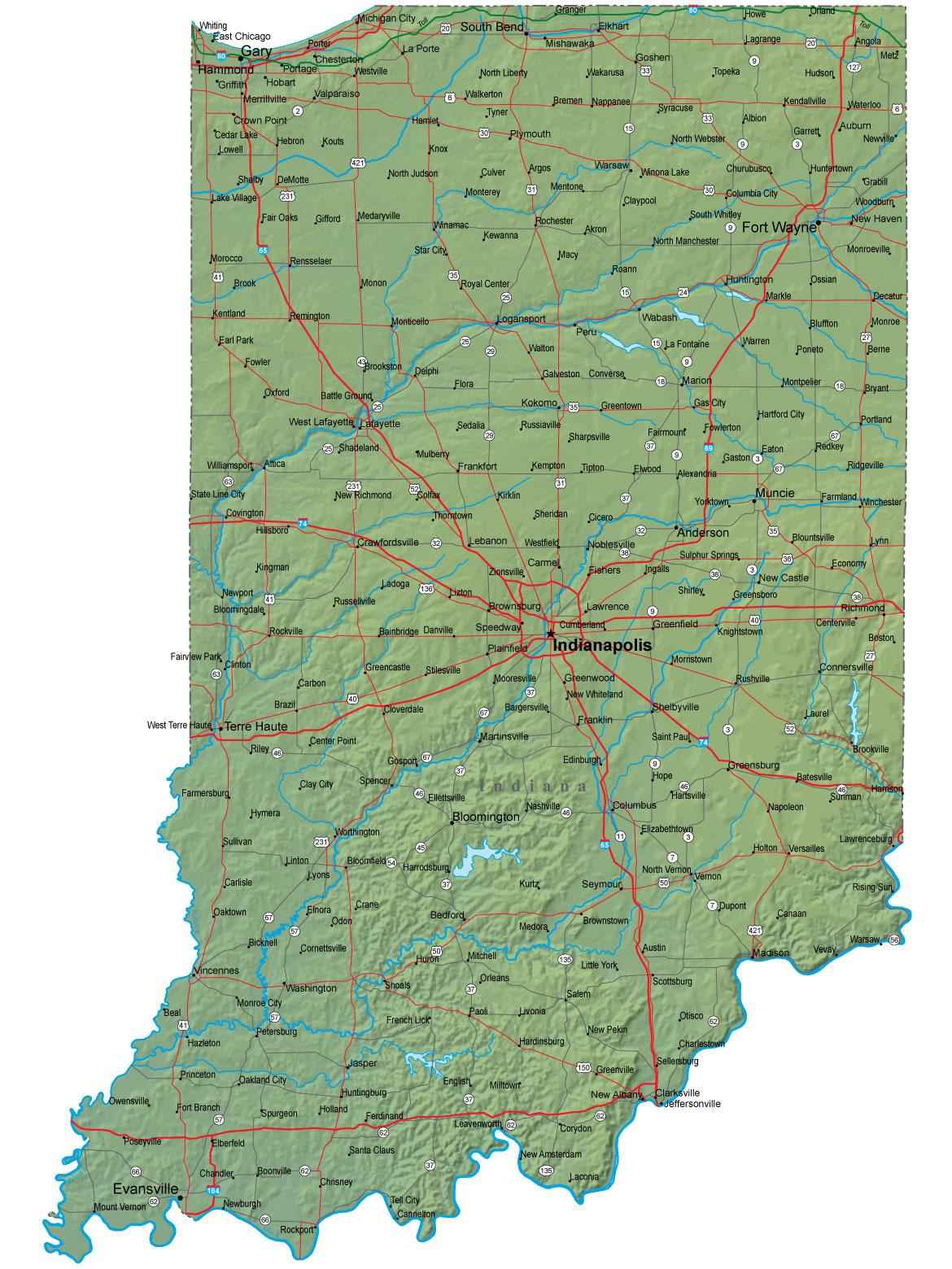 Pics Photos  Indiana Map Plus Terrain With Cities Roads